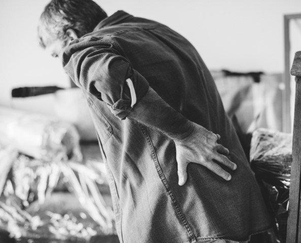 Man suffering from hip bursitis.