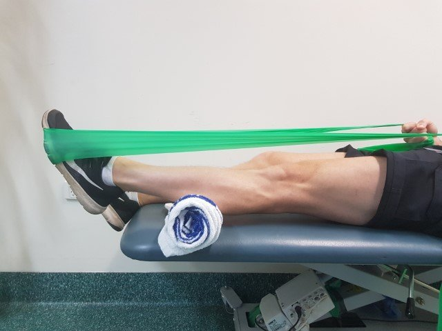achilles tendon exercise: Lying on your back, plantarflexion exercises with resistance band for achilles tendonitis